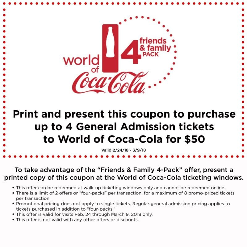 World of Coca-Cola Family 4-Pack Offer