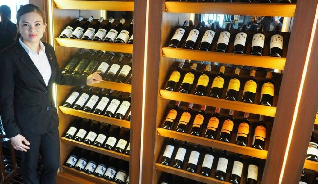 Wine selection at Breeze Restaurant at lebua