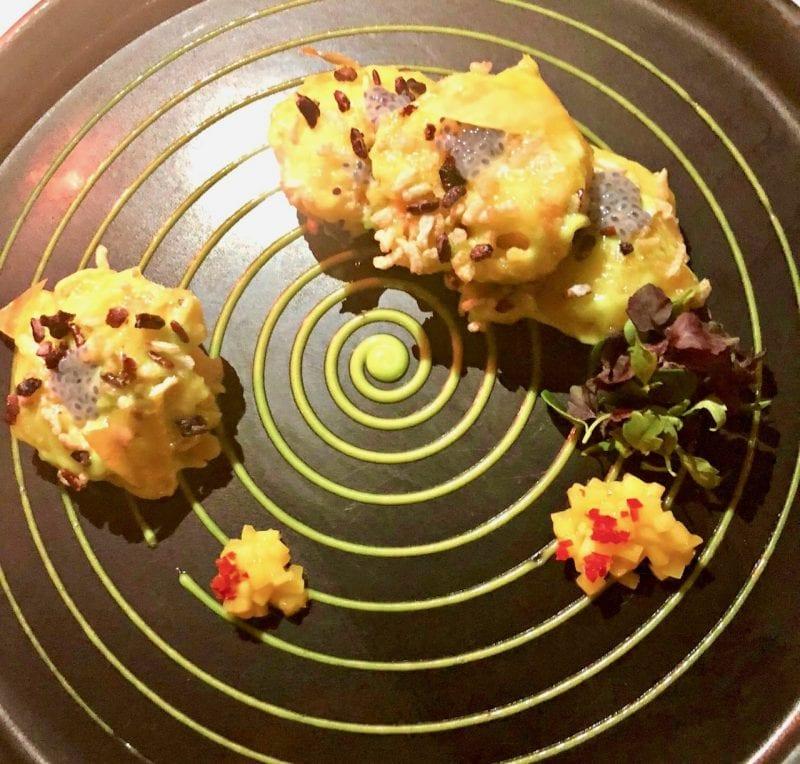 Crisp Wasabi Tiger Prawns with wasabi cream and mango at lebua
