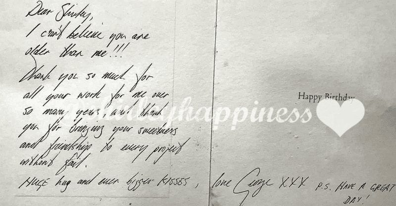 George Michael birthday card to Shirley Lewis