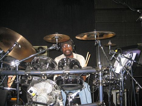 George Michael band member Trevor Murrell on the drums