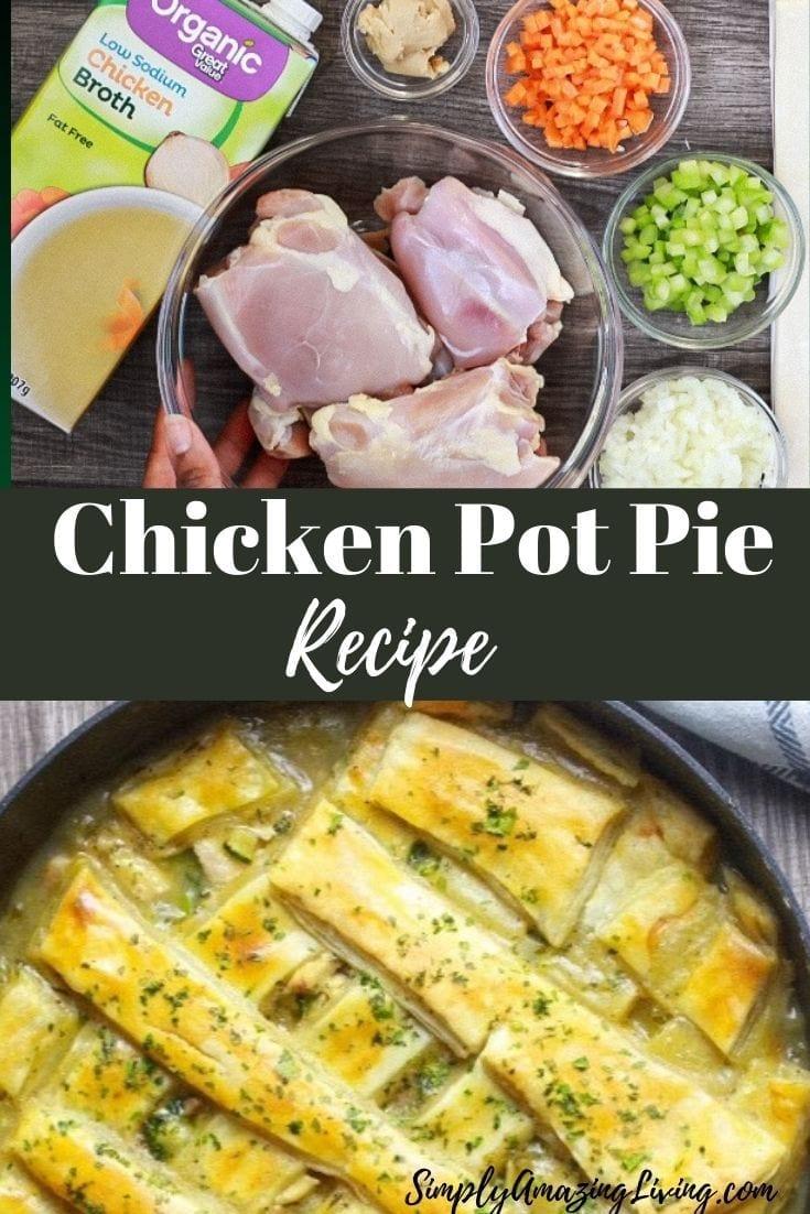 Chicken Pot Pie Recipe Pin with ingredients